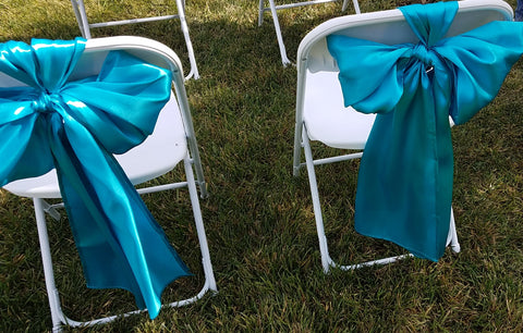 Linen, turquoise chair bow