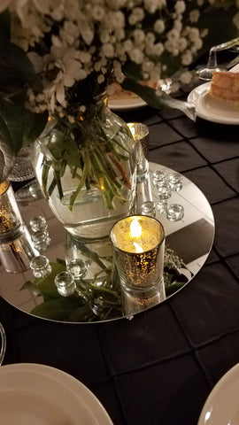 Votive Glass Candle Holder, Mercury Silver