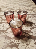 Votive Glass Candle Holder, Mercury Rose Gold