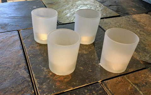 Votive glass candle holder, frosted