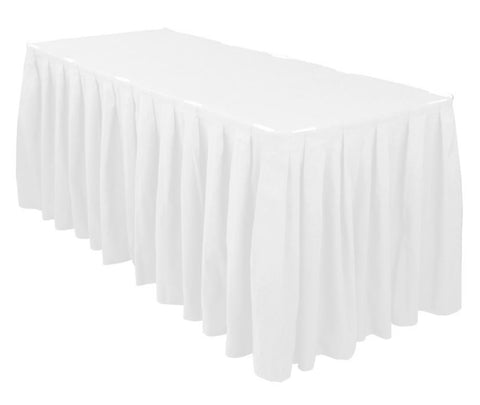 Linen, white table skirting