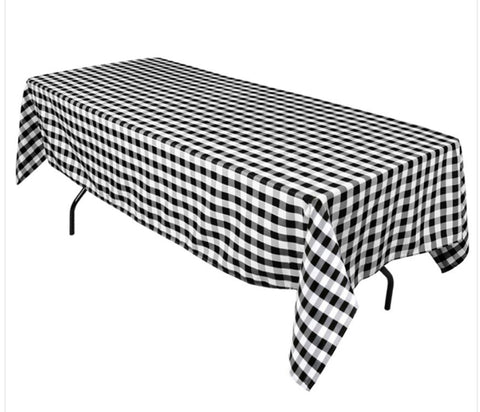 Linen, Checkered, Black and White