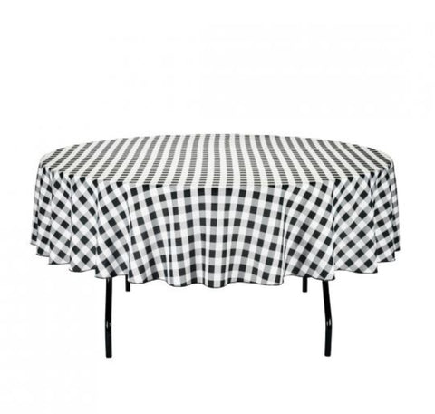 "Linen checkered black and white 90"" round"