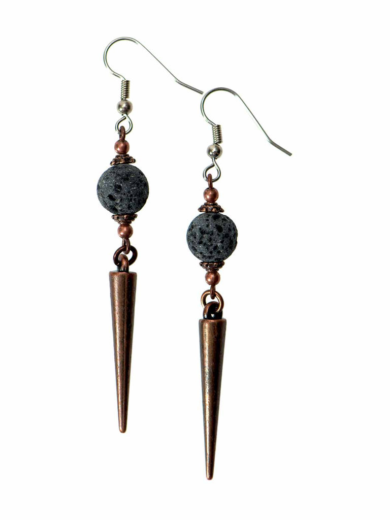 Lava & Copper Spike Diffuser Earrings