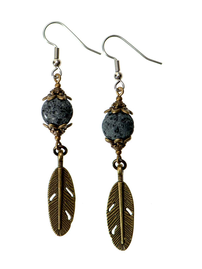 Bronze Feather & Lava Diffuser Earrings