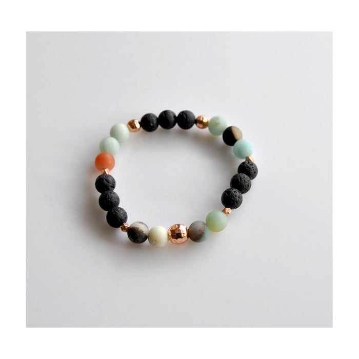 Amazonite Diffuser Bracelet (Rose Gold)