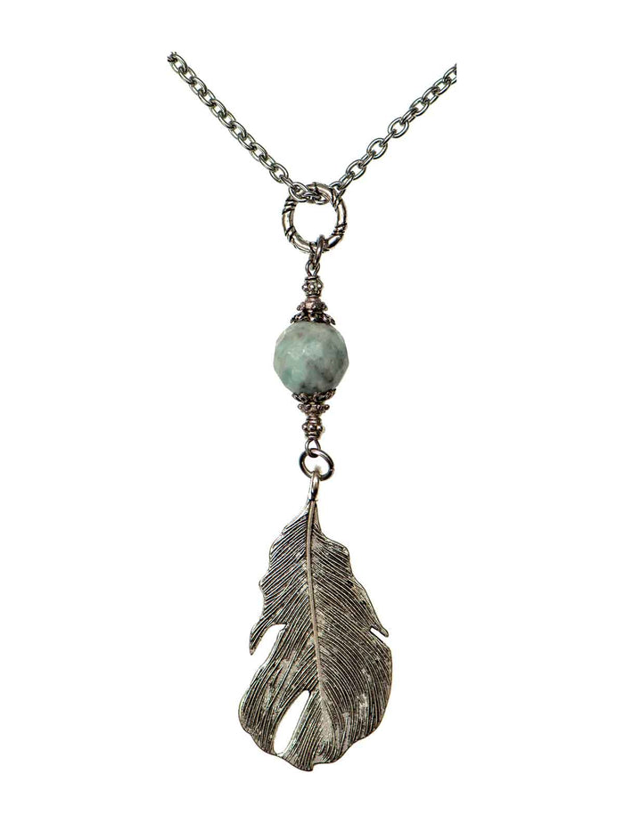Amazonite with Silver Feather