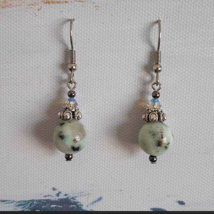 Sesame Jasper and Swarovski Earrings