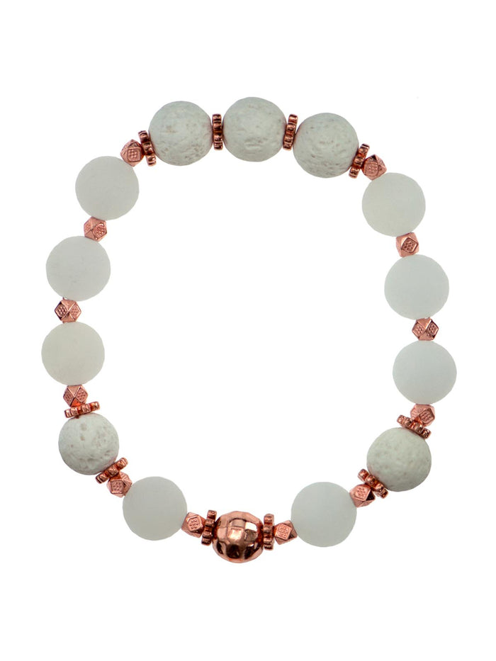 Frosted Rose Quartz 10mm Diffuser Bracelet