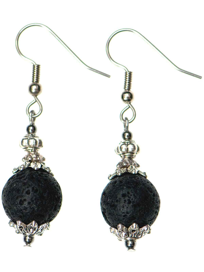 Round Silver Lava Diffuser Earrings