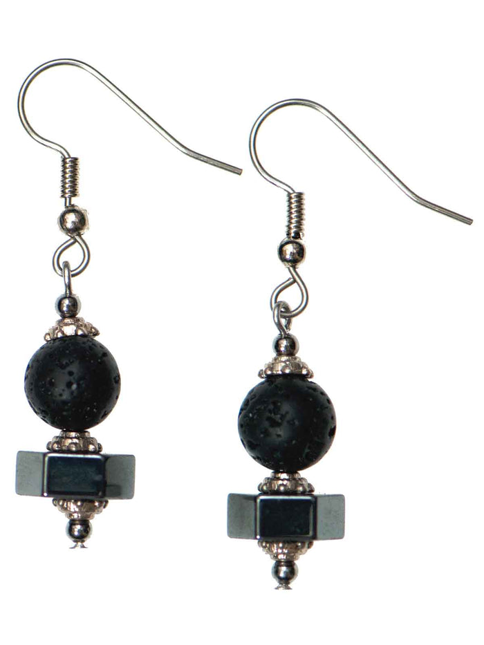 "Hexagon ""Hematite"" Lava Diffuser Earrings"