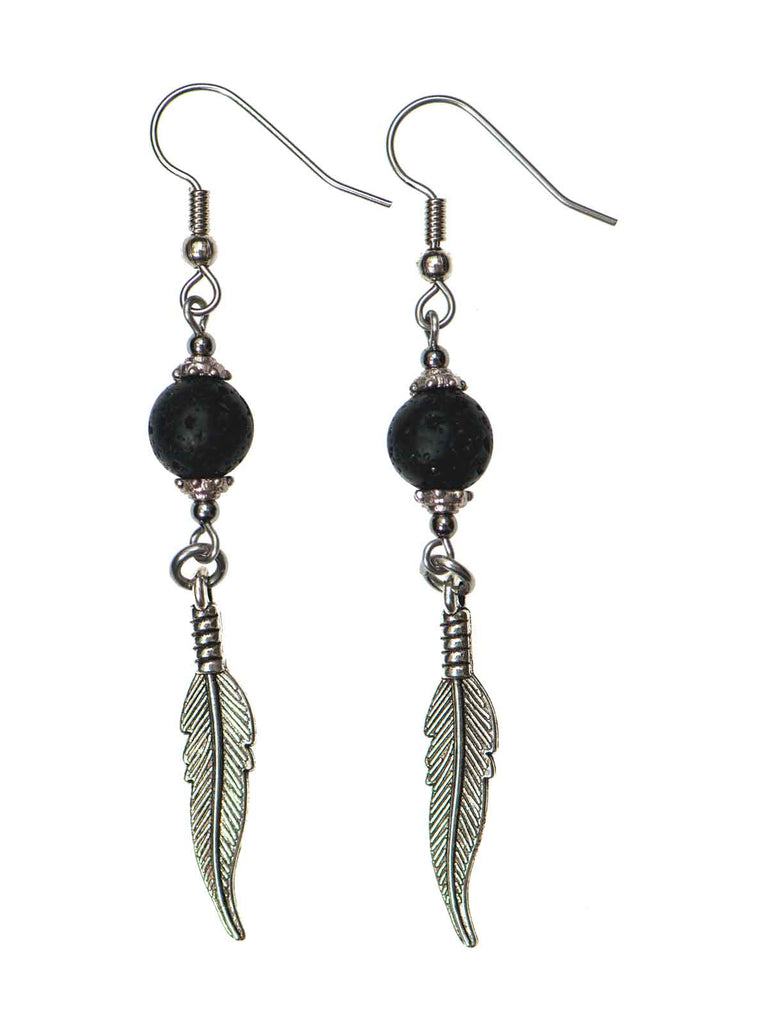 Lava & Feather Drop Diffuser Earrings