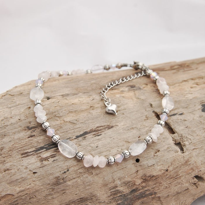 Renee Anklet (Rose Quartz and Swarovski Crystal)