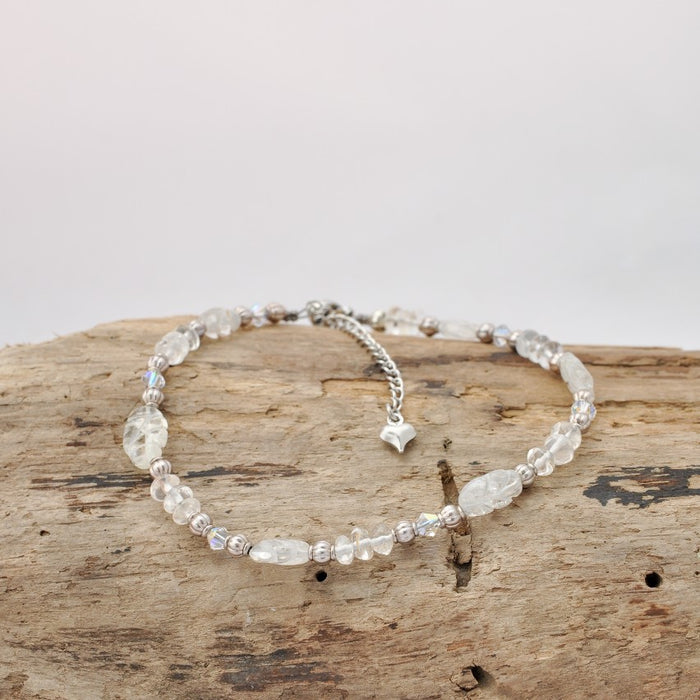 Willow Anklet (Quartz and Swarovski Crystal)