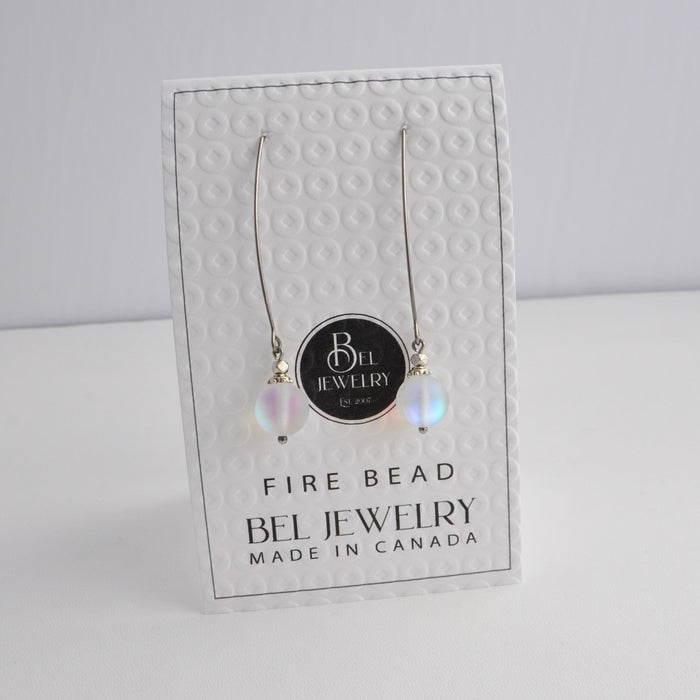 Clear Frosted/ Blue FIRE Earrings