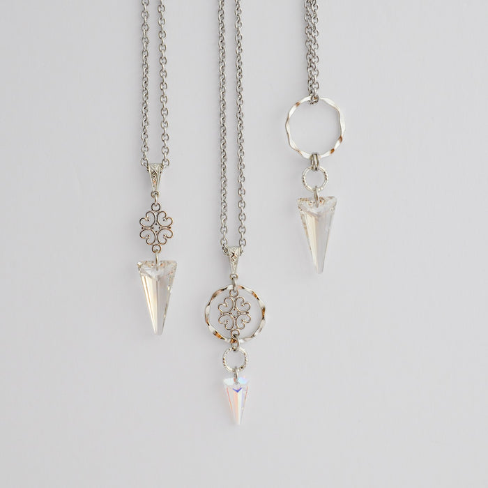 Vintage Necklaces with Swarovski Spikes in Platinum