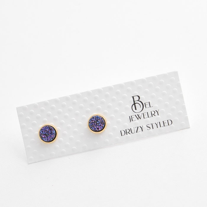 Iridescent Purple Druzy-Styled Stud Earrings