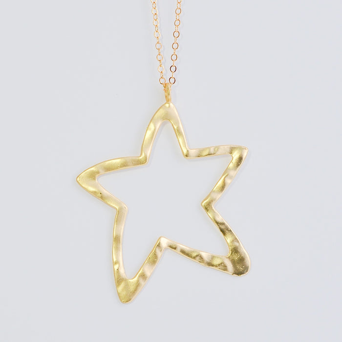 The Mega Hammered Matte Star Necklace