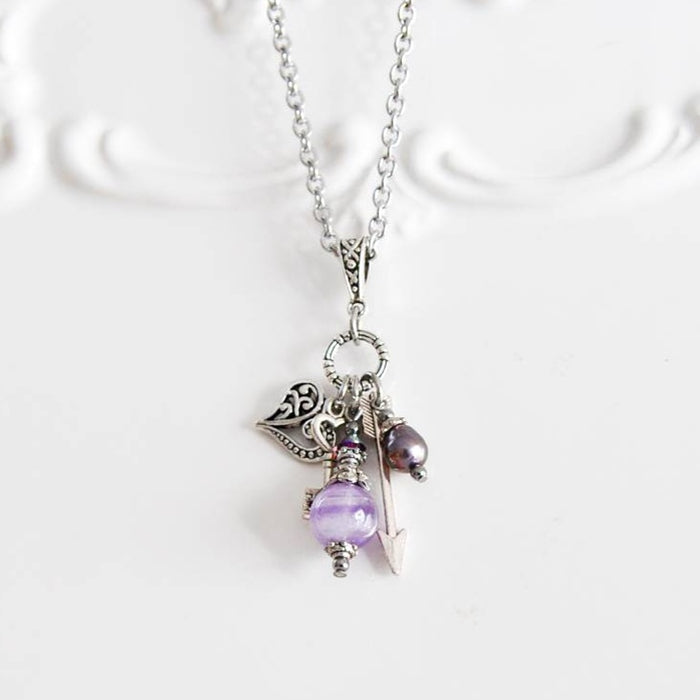 Amethyst & Freshwater Pearl-Vintage Cluster Necklace