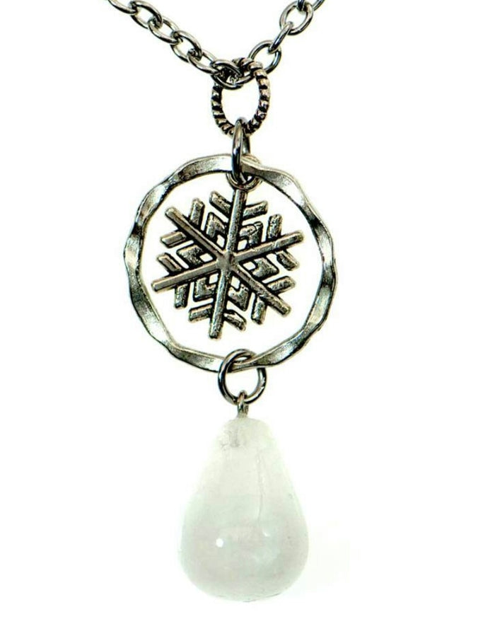 Quartz Crystal & Snowflake Necklace