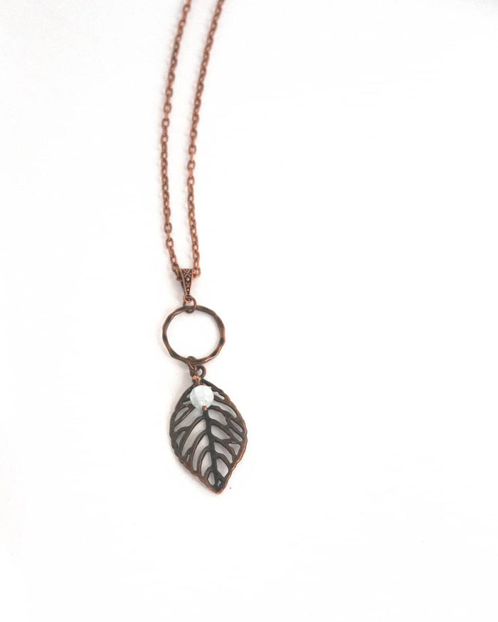 """Aquamarine"" & Leaf in Copper"