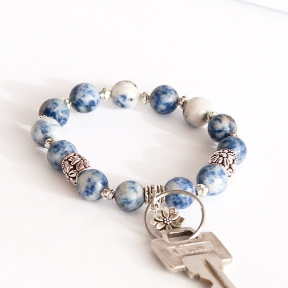 "Blue Spot Stone  ""SAFE-KEY"" Stretch Bracelet"
