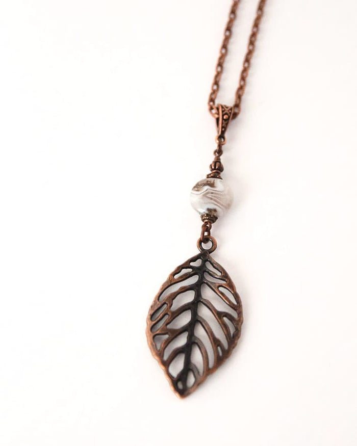 Botswana Agate & Leaf in Copper