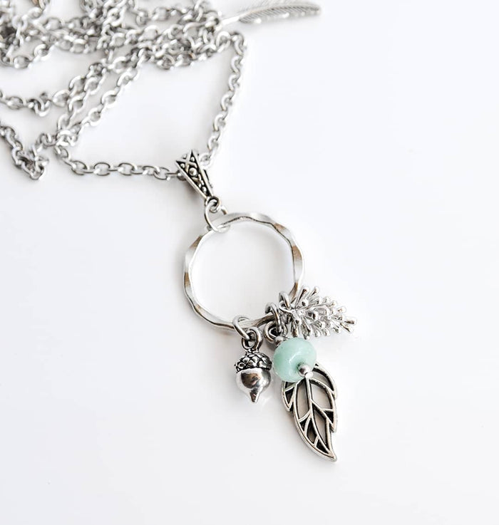 Amazonite Nature Cluster Necklace in Silver