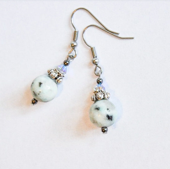 Sesame Jasper & Swarovski Earrings