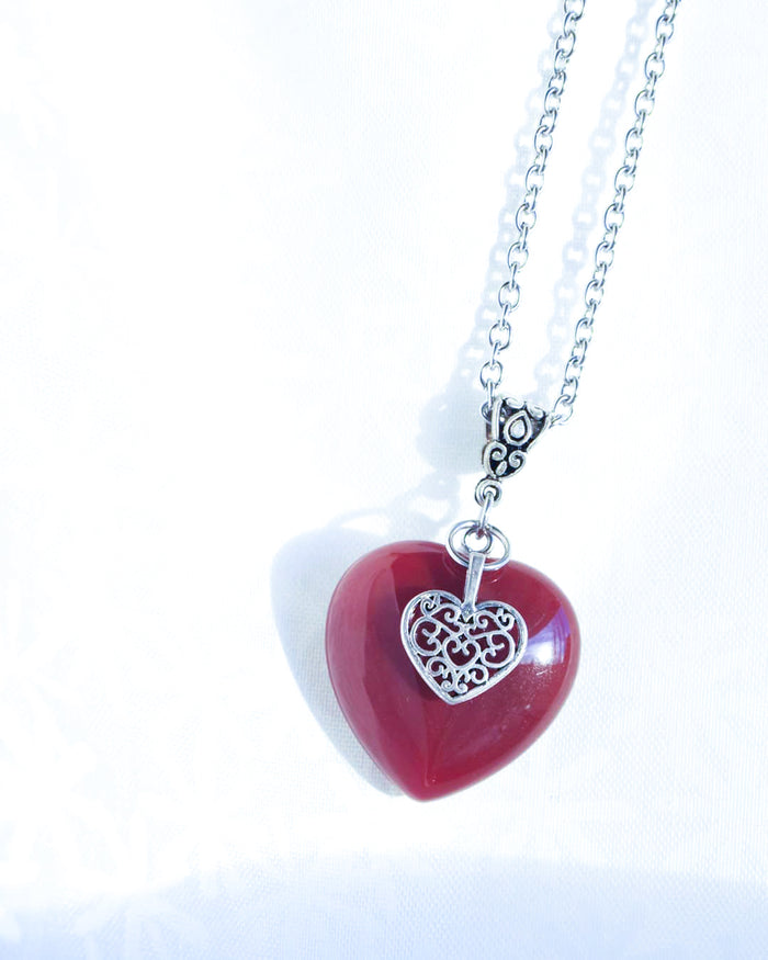 Red Agate Heart Gemstone Necklace