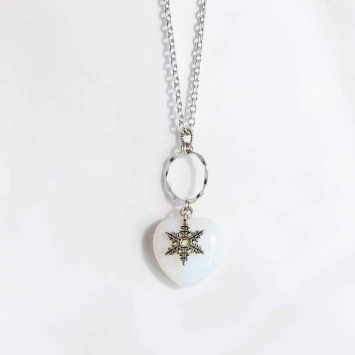 Opalite Heart & Snowflake Necklace