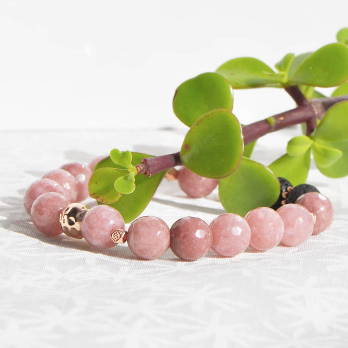 "Rose ""Jade"" Diffuser Bracelet in Rose Gold (10mm gemstone)"