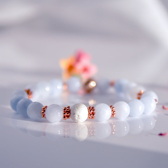 "Copy of Rose ""Jade"" Diffuser Bracelet in Rose Gold (10mm gemstone)"