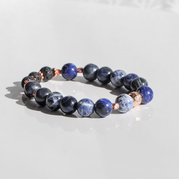 Sodalite Diffuser Bracelet in Rose Gold (10mm gemstone)