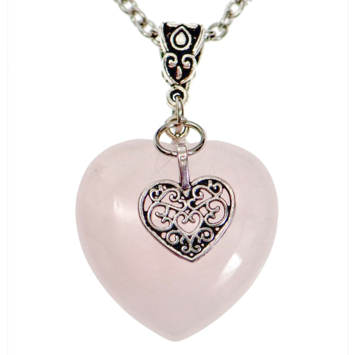 Rose Quartz Heart Necklace in Silver