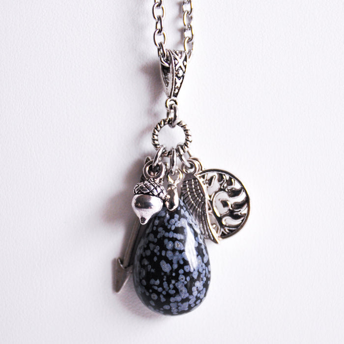 Snowflake Obsidian Nature Cluster Necklace