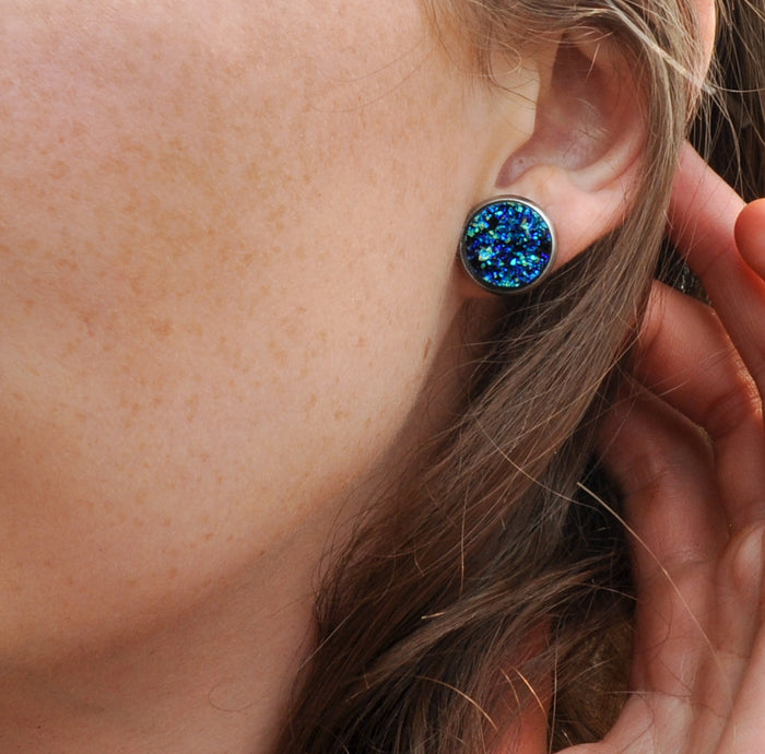 14mm Starry Night Faux Druzy Stud Earrings