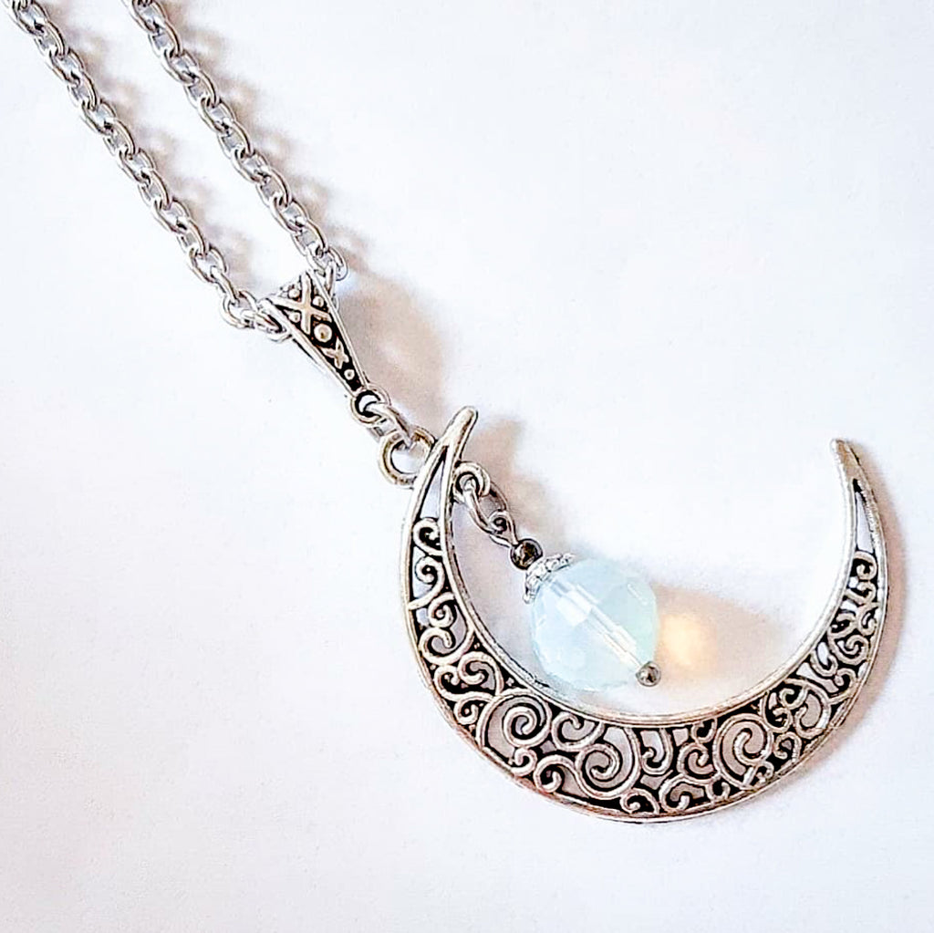 Faceted Opalite Moon Necklace