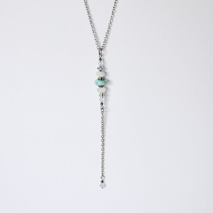"Larimar & Swarovski Crystal Layering ""Y"" Necklace"