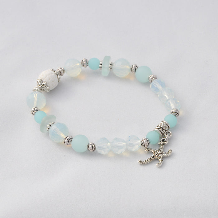 Cultured Sea Glass & Opalite Starfish Diffuser Bracelet