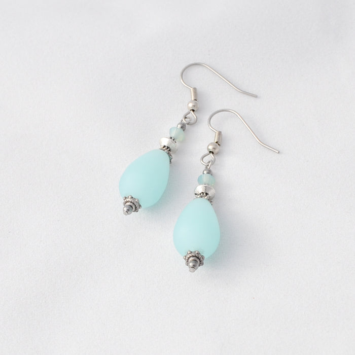 Aqua Cultured Sea Glass Drop Earrings