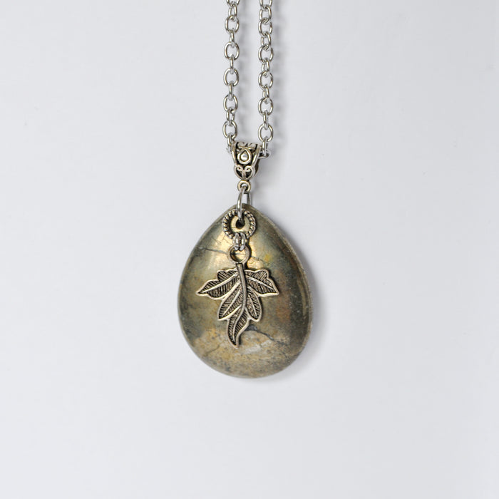 Pyrite Teardrop & Leaf Necklace