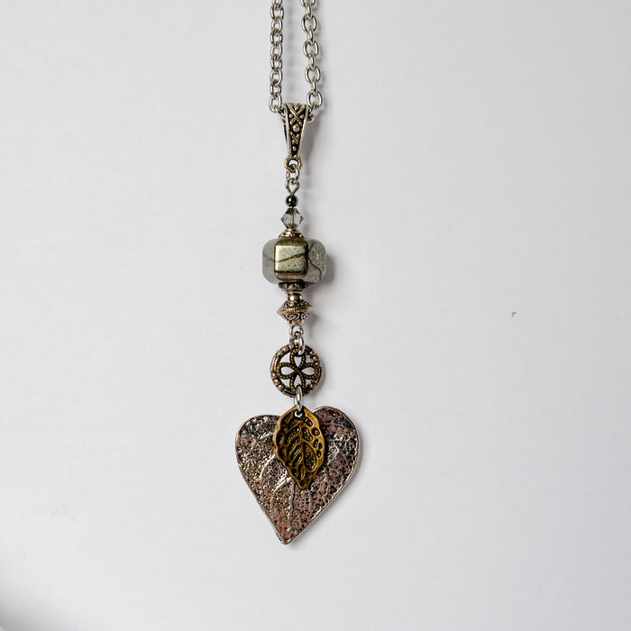Pyrite Vintage Leaf Necklace