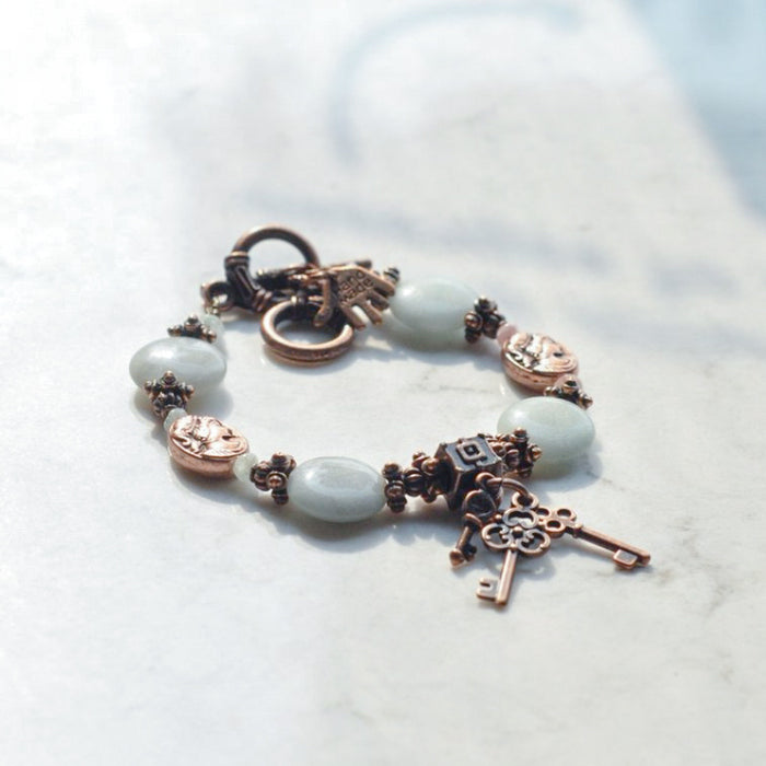 Amazonite & Copper Cameo Bracelet