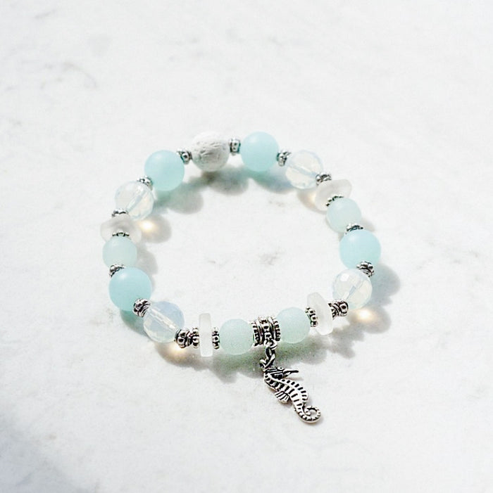 Cultured Sea Glass & Opalite Diffuser Bracelet