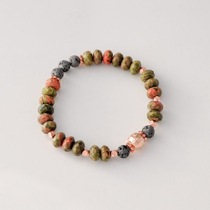 Faceted Unakite 8*5mm Diffuser Bracelet