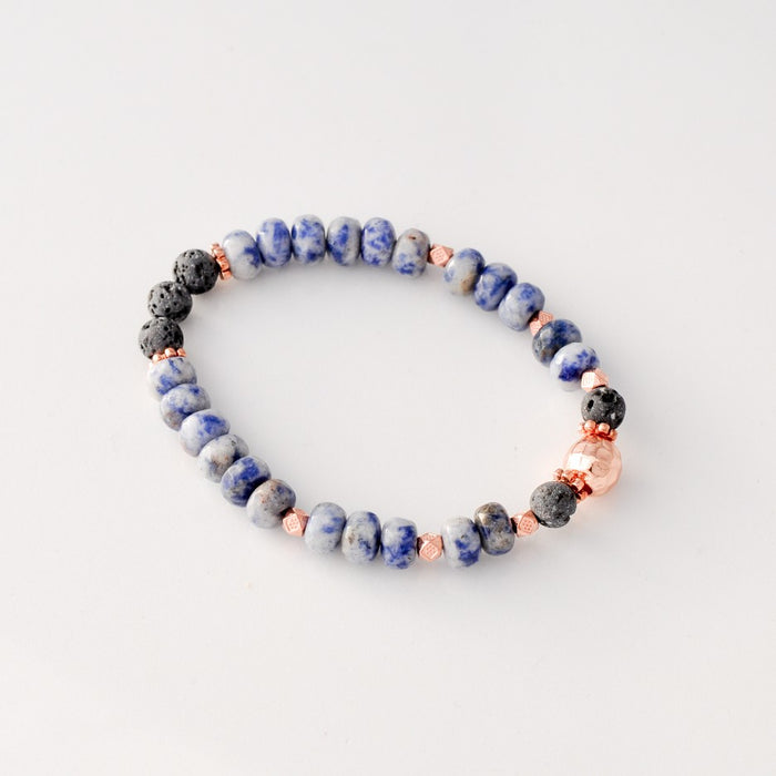 Faceted Blue Spot Stone 8*5mm Diffuser Bracelet
