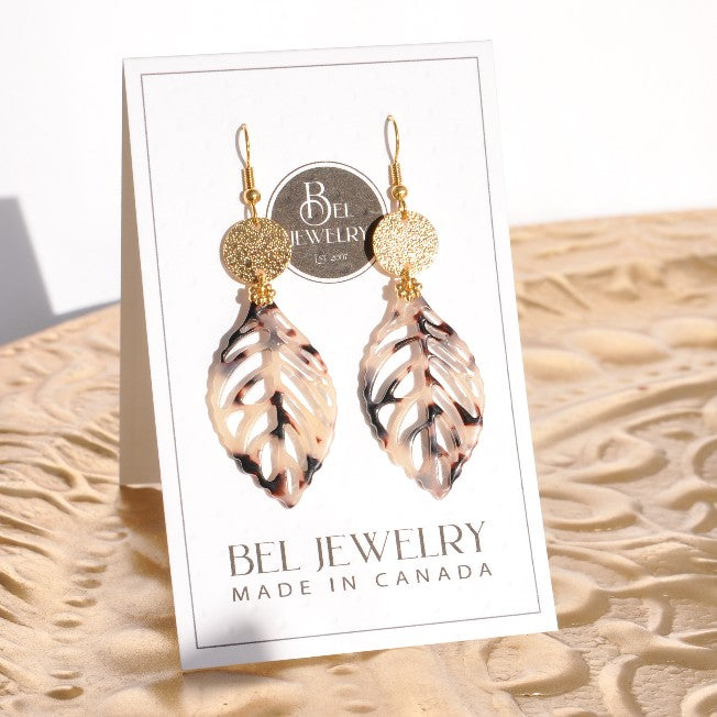 Gold-plated Tortoise Leaf Earrings