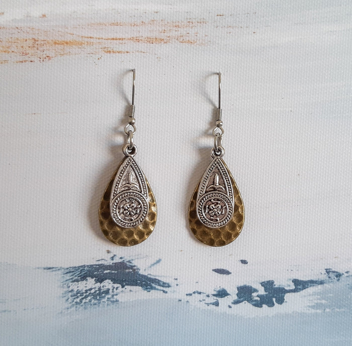 Imprinted Antique Bronze & Silver Teardrop Earrings