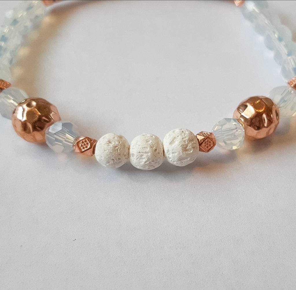 Opalite 6mm Diffuser Bracelet in Rose Gold